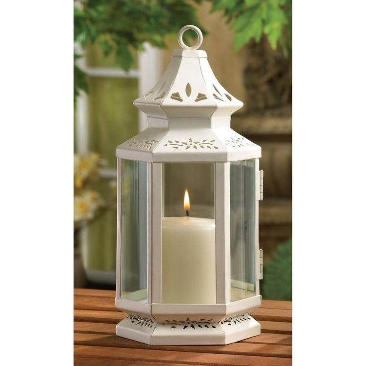 10 MEDIUM WHITE VICTORIAN CANDLE LANTERN WEDDING TABLE CENTERPIECES NEW #Unbranded
