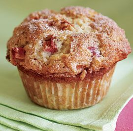 Cinnamon-Rhubarb Muffins: Sour cream, a bit of a surprise ingredient, adds richness to these muffins, but it's the juice released by the rhubarb that makes them so tender and moist that you can still serve them the next day. Via FineCooking