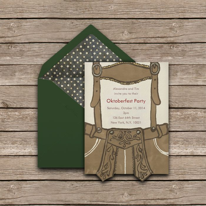 Oktoberfest Party Invitation with Leather Pants Design. #oktoberfest #lederhosen #invitation