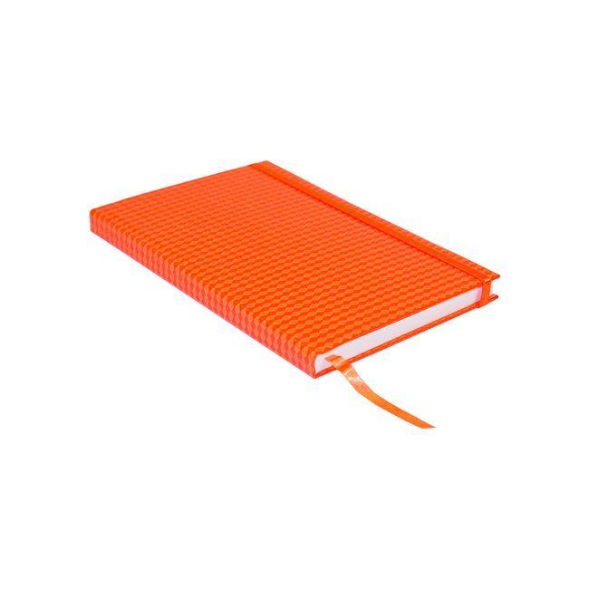 Libreta ejecutiva, con un diseño innovador de rombos, ideal para que anotes tus citas o reuniones importantes y la lleves en todo momento. Características: • Pasta dura y banda elástica • Hojas a cuadros • Color naranja