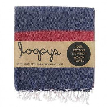 Navy & Red Candy Stripe Turkish Towel