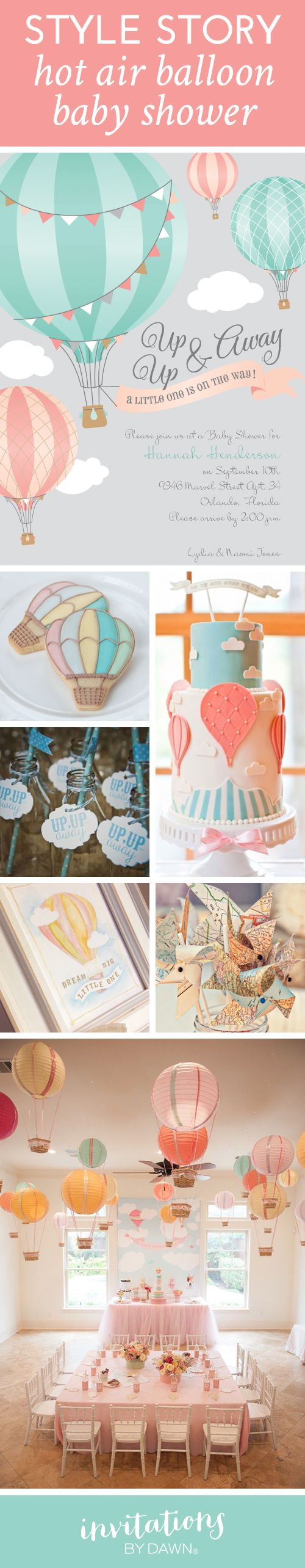 Hot Air Balloon Baby Shower Inspiration. Cutest theme EVER! #babyshower #babyshowertheme #invitationsbydawn