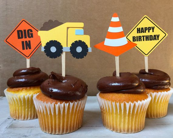 12 Under Construction Little worker birthday Cupcake Toppers    This set includes  4 Yellow Dump Truck toppers  2 Happy Birthday construction