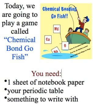 Chemical Bonding Go Fish & Other Games, Ionic & Covalent Bonds More