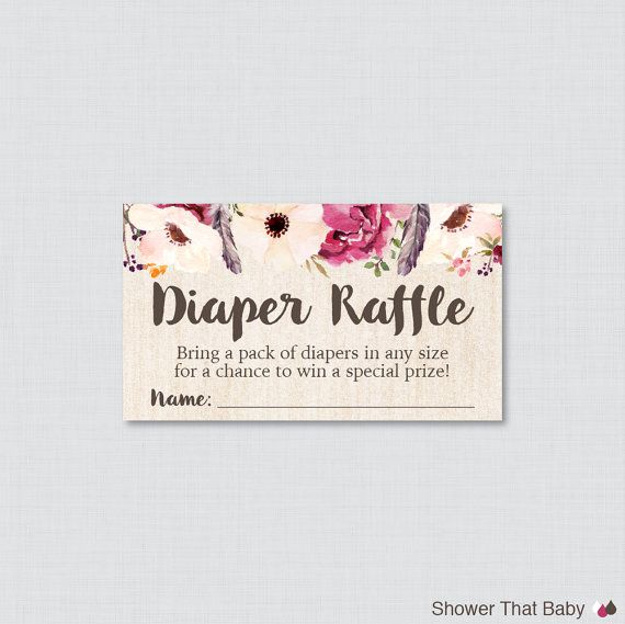 Boho Baby Shower Diaper Raffle Tickets and by ShowerThatBaby