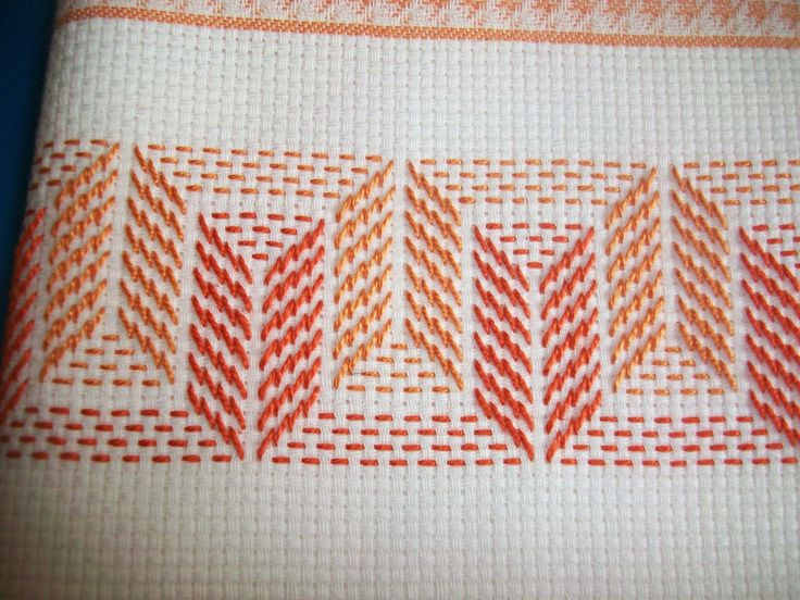 not really sure if this qualifies as cross stitch, but it's done on adida cloth  i like the look. Would make a pretty stitch on a dish towel.