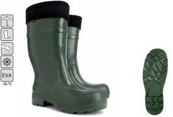 Demar Men Wellies Made from the same material as fashion brand Crocs these light weight green wellies with internal lining are designed with comfort in mind.