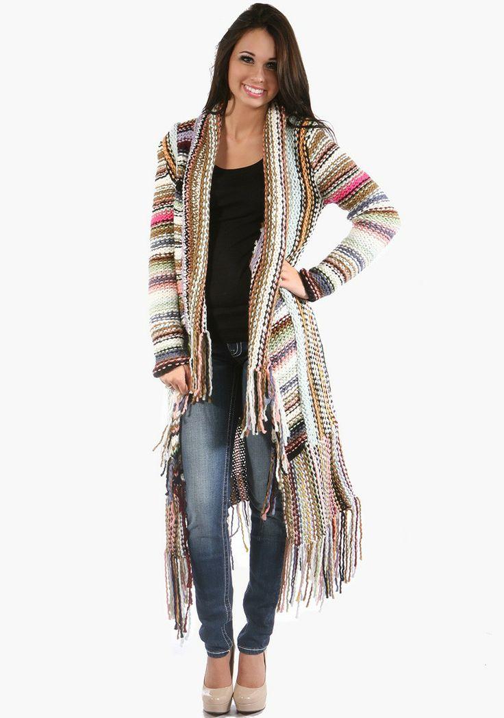 Colorful fringe long knit cardigan item a34724 99 99 hottie