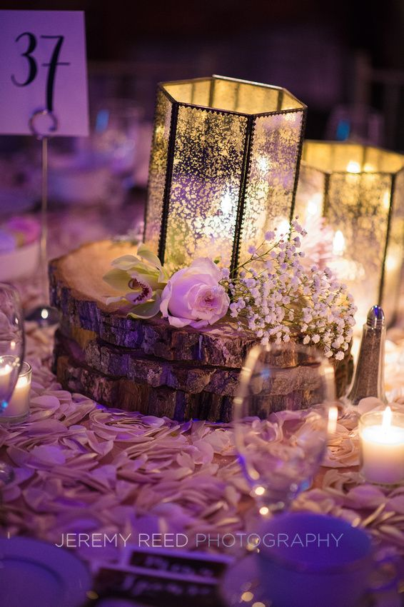 Wood slab centerpiece Secret Garden theme SOMC Winter Wonderland 2015