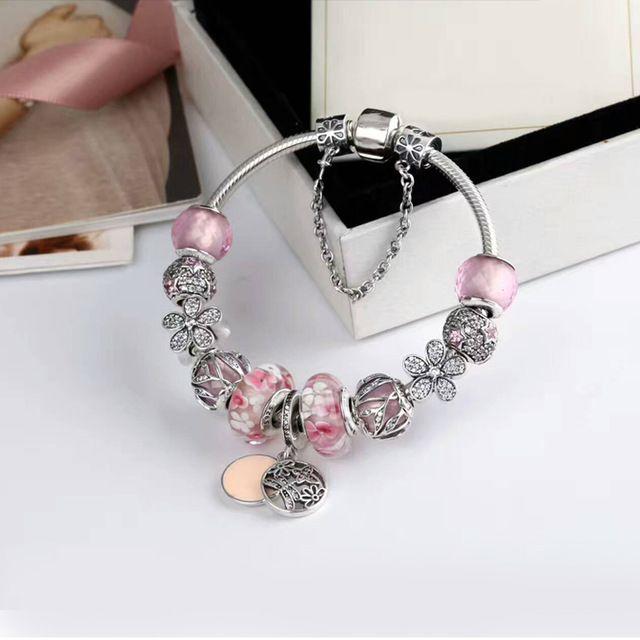 Original Schmuck mit 925 Sterling Silber Charme Rosa Kristall blume Klar CZ stein Europäischen liebe mama Charme perlen armband