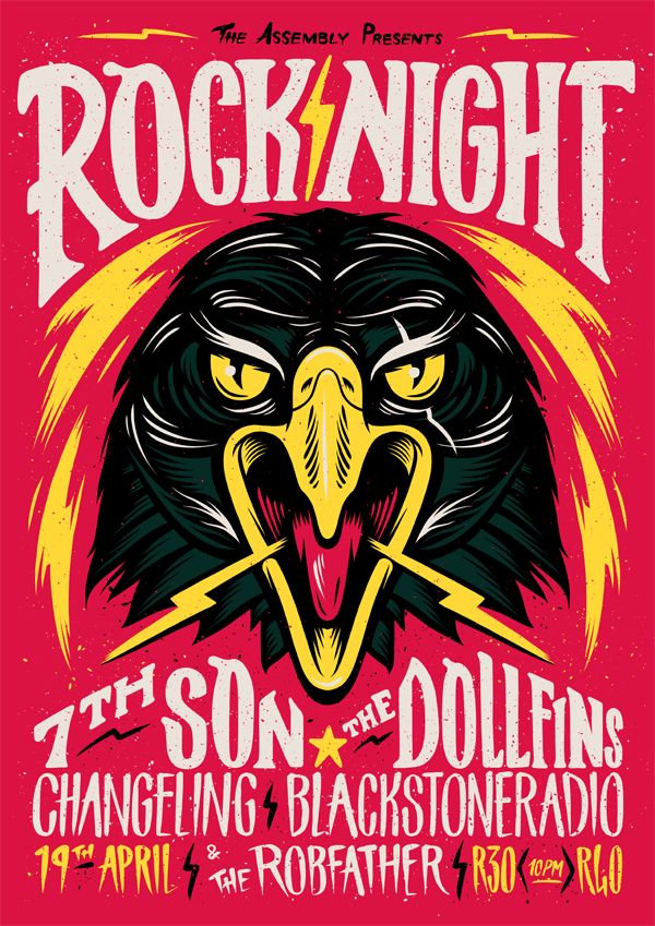 Rock Night Poster by Ian Jepson, via Behance