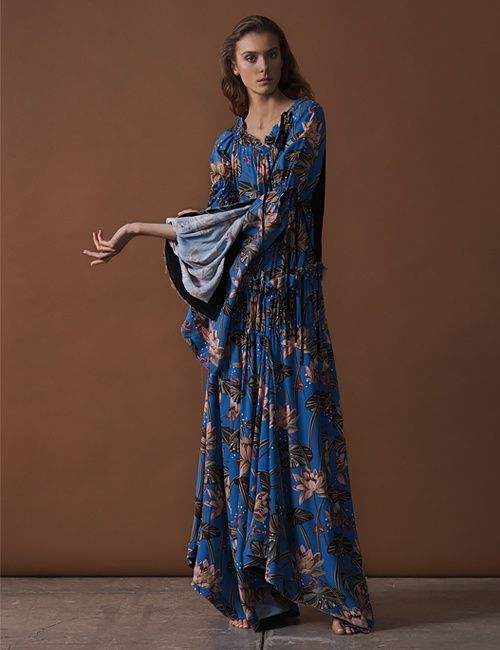 Loewe x Paula's Ibiza Waterlily-Print Crepe Maxi Dress. We think this would be the perfect holiday party dress. #partyseason #partyedit #style #holidaydress