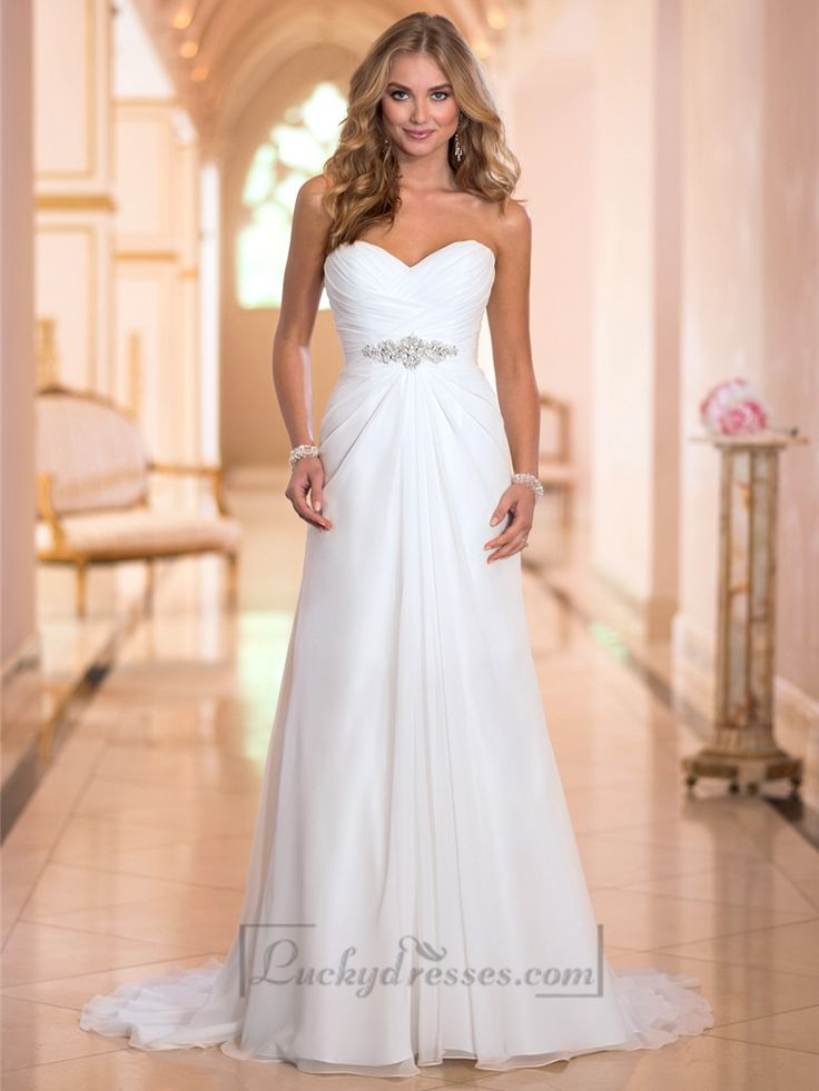 Sweetheart Criss-cross Ruched Bodice Simple Wedding Dresses