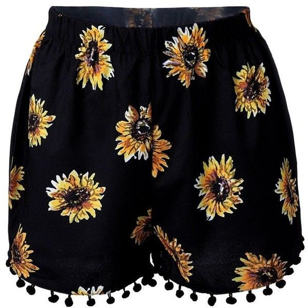 Women High Waist Floral Printed Shorts Casual Beach Shorts ($5.52) ❤ liked on Polyvore featuring shorts, beach shorts, high-rise shorts, print shorts, summer shorts and high-waisted shorts
