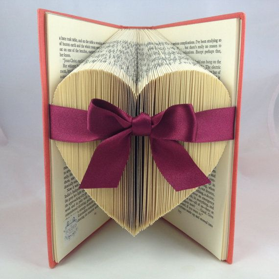 Folded Large Heart Upcycled Book Art by TheFoldedPageShop on Etsy, £36.50
