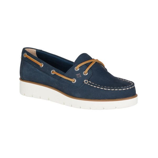 Women's Sperry Top-Sider Azur Boat Shoe (5.525 RUB) ❤ liked on Polyvore featuring shoes, loafers, boat shoes, casual, navy shoes, navy blue wedge shoes, navy wedge shoes, deck shoes and wedge shoes