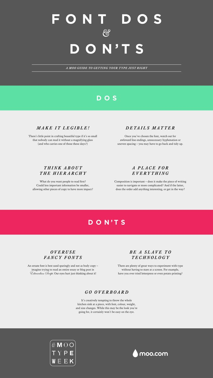 Font Dos & Don ts great for websites business cards