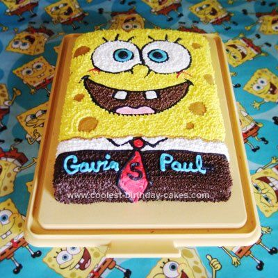 Homemade Sponge Bob Birthday Cake: My Mom made this Homemade Sponge Bob Birthday Cake for my son's 5th birthday. She just printed a picture of Sponge Bob off of the internet and used that