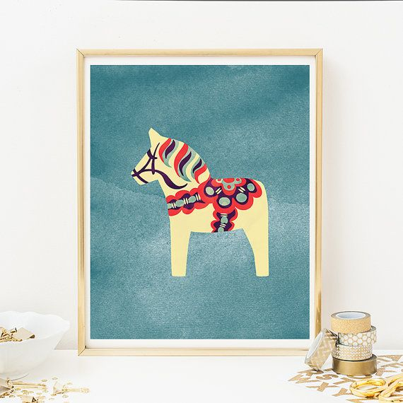 FALL SPECIAL! Buy 3, Get 1 Free! Add 4 prints to your cart and use coupon FALLSPECIAL. 8x10 Printable White Dala Horse Wall Art Print -
