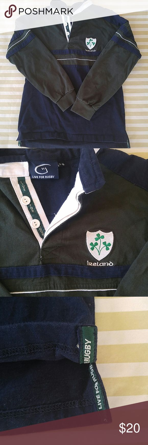 ??Boys Ireland rugby shirt ?? ?? Bought this in Ireland for my son! It's all in the details -embroidered Ireland and shamrock shield, live for rugby sewn into the v on the collar and on the inside hem. Size 7/8. Get it for your little leprechaun in time for St Patrick's day! Worn a few times. Shirts & Tops Polos