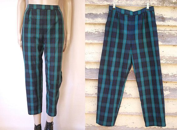 70s Vintage Green and Black Skater Punk Plaid High Rise Pants