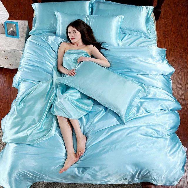 Pure Satin Silk bedding set 3/4pcs Twin Full Queen King Size Bed Sheet Set Solid Duvet Cover Set Sheet soft silky pillowcase