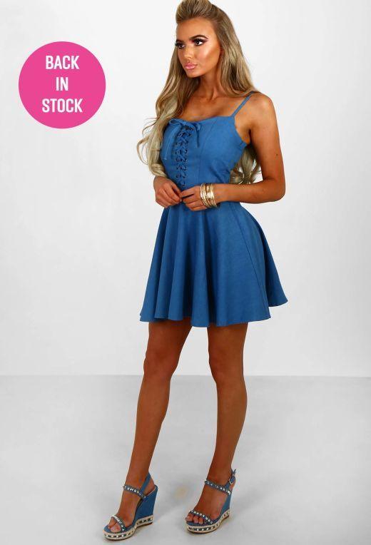 Forever More Blue Lace Up Denim Skater Dress | Pink Boutique