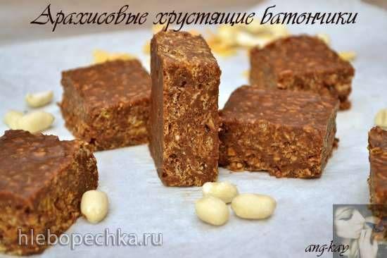 Арахисовые хрустящие батончики с шоколадом и кукурузными хлопьями
