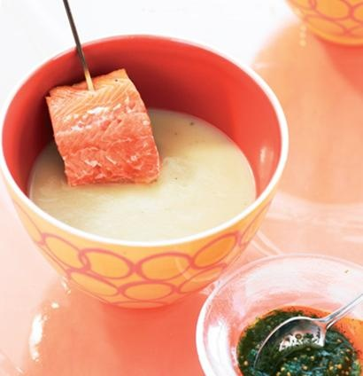 ... fennel-and-potato soup with grilled salmon trout and dill pesto