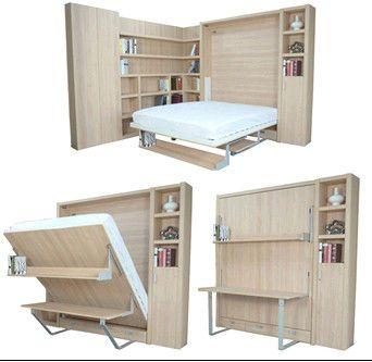 아파트를 위한 책상 그리고 책꽂이를 가진 수직 접히는 벽 침대 ...