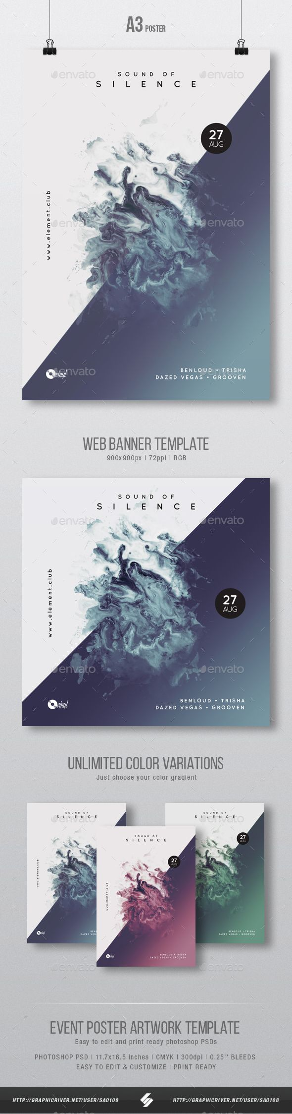 Sound Of Silence Minimal Party Flyer