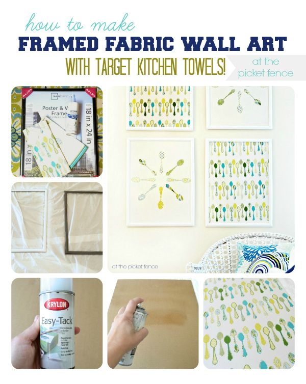 DIY: How to Make Framed Fabric Wall Art with Kitchen Towels {Tutorial} @At The Picket Fence