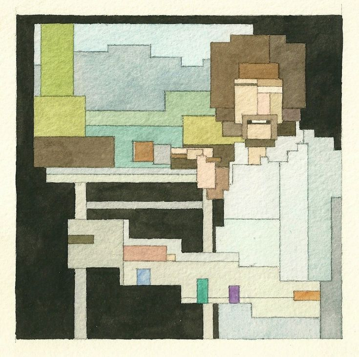 '8 Bit Watercolors Explore the Intersection of Pop Culture and Retro Video Game Graphics watercolor pop culture painting