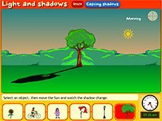Light and shadows: casting shadows(F-2). Students explore the shadows cast by different objects such as a bike, an umbrella and a child. They position the Sun to cast shadows at different angles and of different sizes.