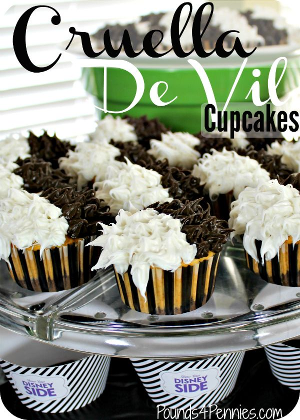 These amazing black and white cupcakes are so easy to make. No decorating talent needed. There is brownie on the bottom for a yummy surprise inside. You have got to see how to make these Cruella De Vil Cupcakes for your next Disney party.