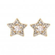 Cercei Star Shape placati cu Aur, made with SWAROVSKI ELEMENTS