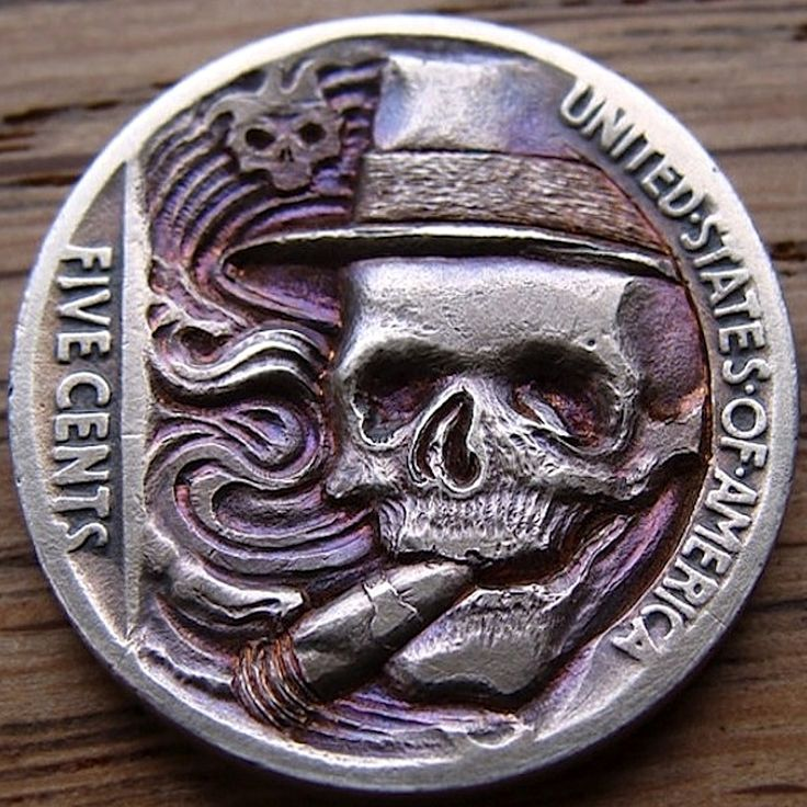 PAUL HOLBRECT HOBO NICKEL - THE JOY OF A GOOD CIGAR - 1937 BUFFALO NICKEL REVERSE CARVING