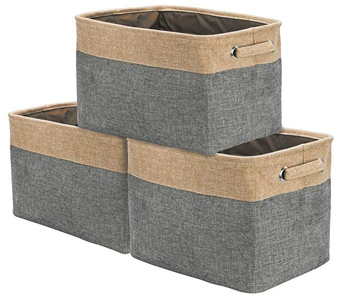 Amazon Com Sorbus Storage Large Basket Set 3 Pack 15 L X 10 W X 9 H Big Rectangular Fabric Collapsible O Storage Baskets Rectangular Baskets Basket Sets