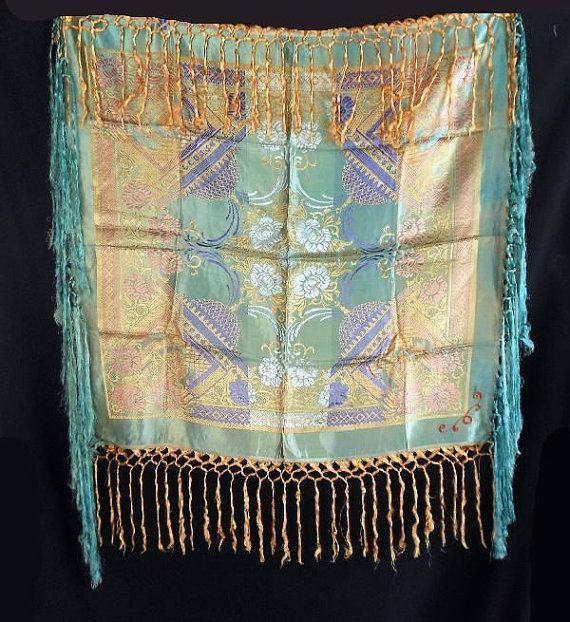 RESERVED - Vintage WWII 40s Silk Brocade Taj Mahal Fringed Piano Shawl Scarf…