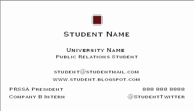 Student Business Cards Templates Free Unique Social Media Public Relations Bu Student Business Cards Free Business Card Templates Business Card Template Word