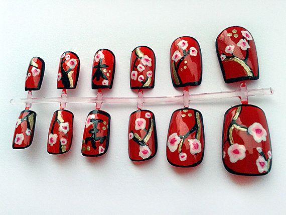 Red Fake Nails, Hand Painted False Nails, Artificial Nail Set, Handpainted Nail Art Design
