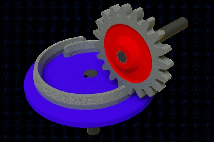 Spiral One-Tooth Gear Mechanism | 3D CAD Model Lib…