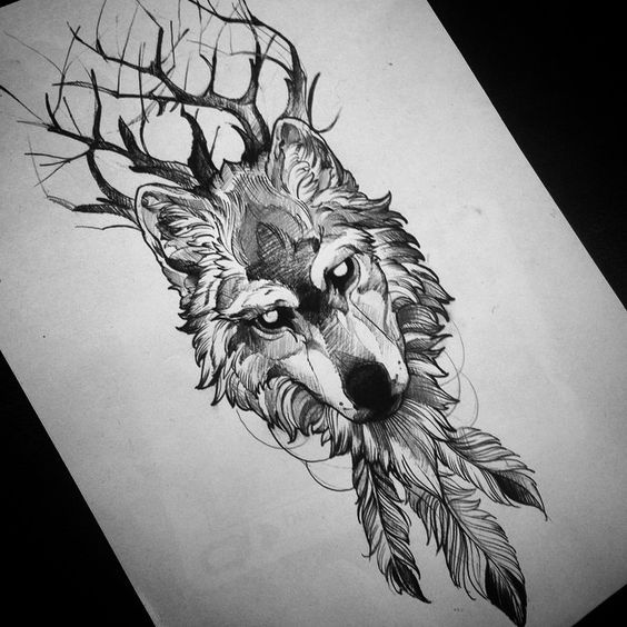7 best mod le de tatouage loup images on pinterest for Wolf tattoo with feathers