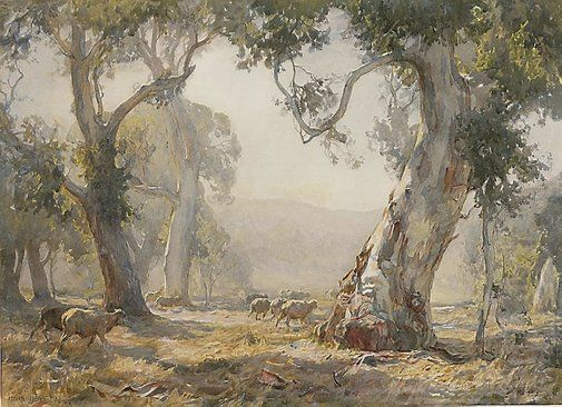 Hans Heysen....pencil, watercolour on ivory wove paper.