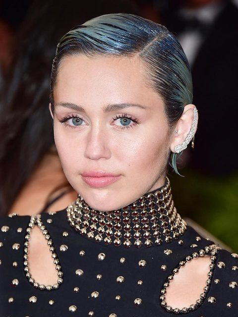 Miley Cyrus working grey/blue hair at the Met Gala in New York, May 2015.