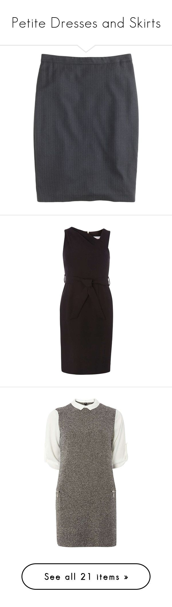 """""""Petite Dresses and Skirts"""" by samib2500 ❤ liked on Polyvore featuring skirts, petite, petite long skirts, long pencil skirt, draped pencil skirt, j crew skirts, petite pencil skirt, dresses, black and petite pencil dress"""