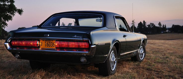 """crazyforcars: """" 1968 Mercury Cougar, which was based on a slightly lengthened Mustang platform (3″ longer in wheelbase). """""""