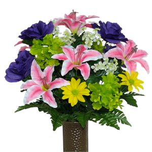 Pink Stargazer Lilies and Purple Roses          (Silk Cemetery Flowers)