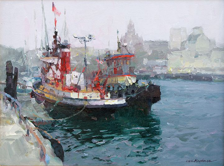 """Tug, Shelter Island"" Original Oil by Kevin Macpherson sold at 30th Anniversary Exhibition at Waterhouse Gallery, Santa Barbara."