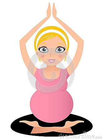 Pregnant yoga woman in Lotus pose. Vector Illustration